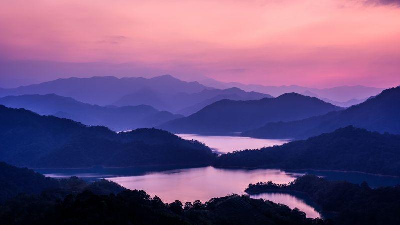 Mountain range, Pink sky, Sunset, Dusk, Lakes, Landscape, 5K, 8K, Wallpaper