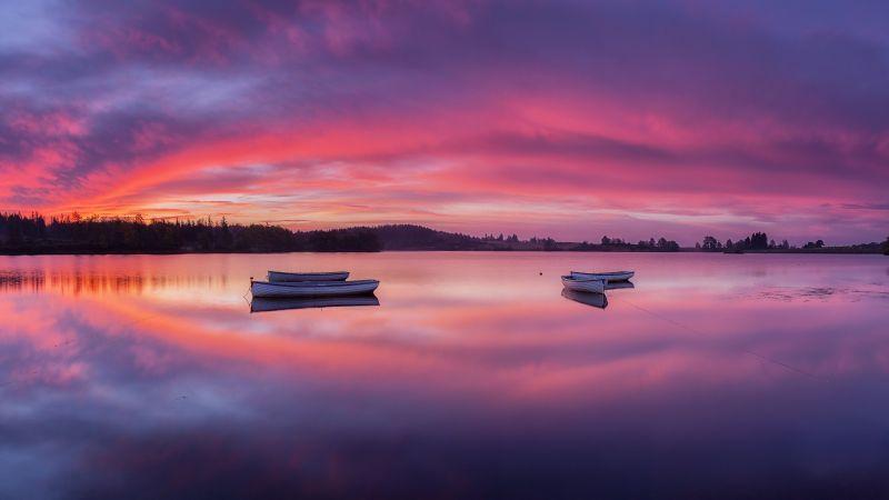 Loch Lomond, The Trossachs National Park, Mirror Lake, Sunrise, Boats, Body of Water, Landscape, Scenic, Purple sky, Long exposure, 5K, Wallpaper
