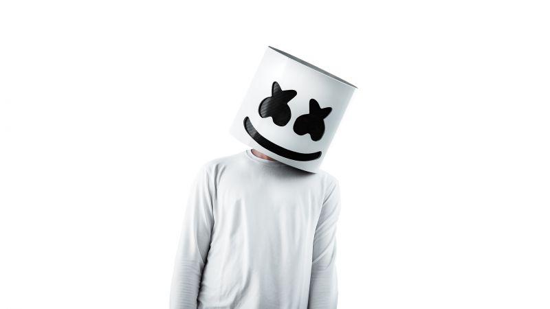 Marshmello, American DJ, White background, Wallpaper