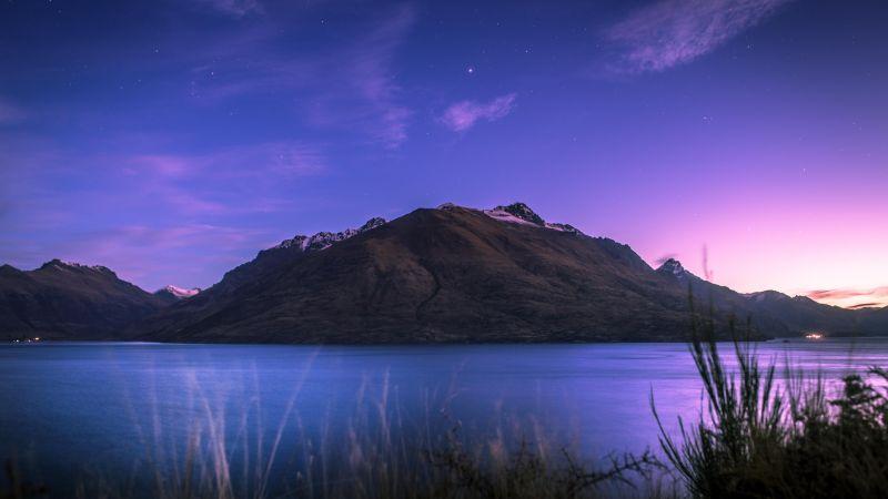 Lake Wakatipu, New Zealand, Mountain, Stars, Sunset, Dusk, Purple sky, Landscape, 5K, Wallpaper