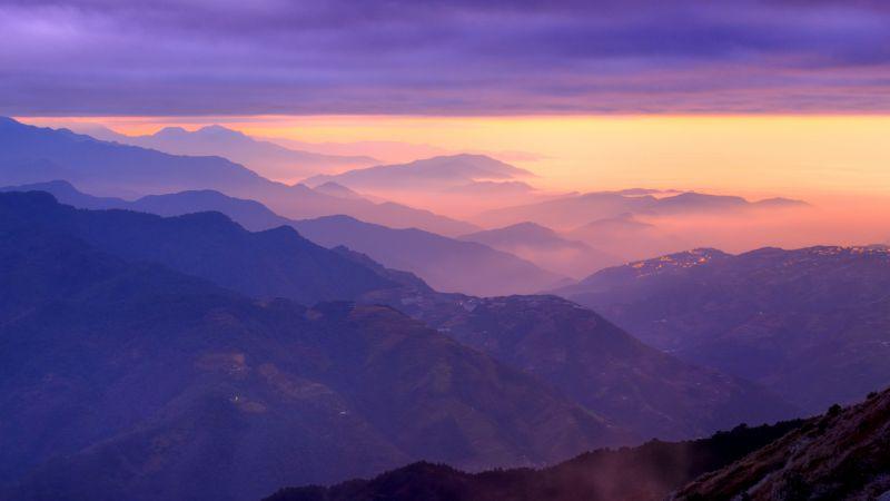 Mountain range, Sunset, Purple sky, Foggy, Clouds, Landscape, Aerial view, Wallpaper