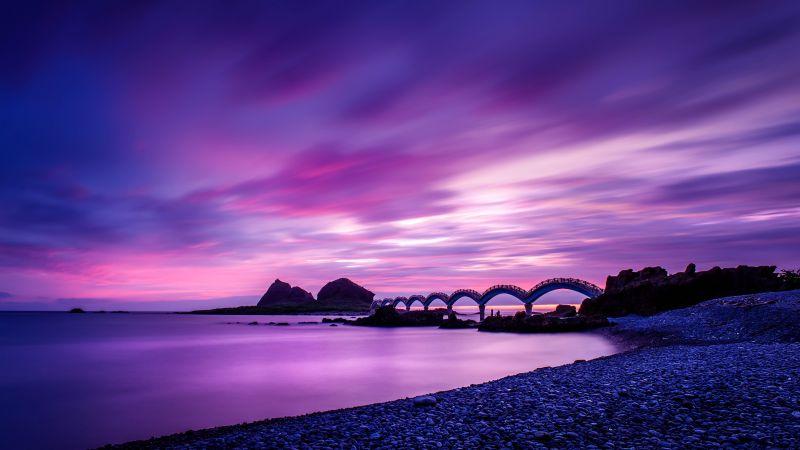 Sanxiantai Bridge, Taiwan, Landscape, Dawn, Purple sky, Clouds, Long exposure, Seascape, Shore, Scenic, 5K, 8K, Wallpaper