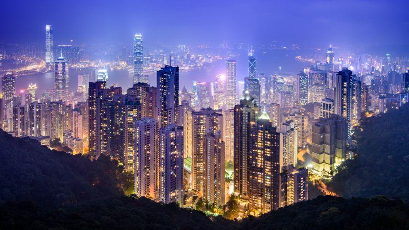 Victoria Peak, Hong Kong City, Cityscape, Night time, City lights, Landscape, Skyline, Skyscrapers, Harbor, 5K, 8K, Wallpaper
