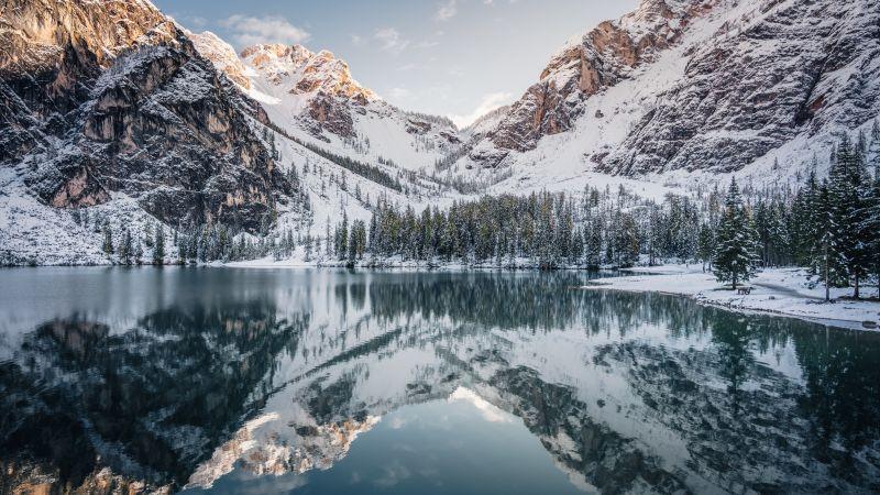 Pragser Wildsee, Italy, Snow covered, Glacier mountains, Reflection, Mirror Lake, Landscape, Peaks, Mountain range, Winter, 5K, 8K, Wallpaper