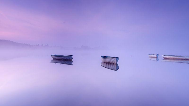 Loch Rusky, Scotland, Boats, Foggy, Mirror Lake, Reflection, Purple background, Scenery, Landscape, 5K, Wallpaper