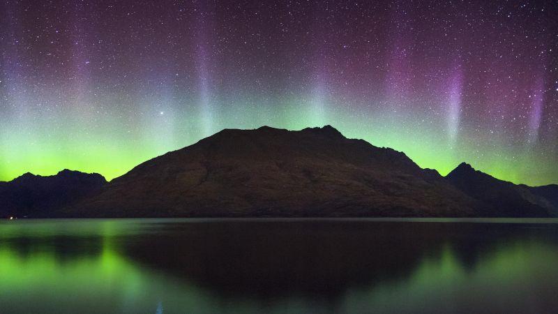 Cecil Peak, New Zealand, Aurora Borealis, Northern Lights, Starry sky, Night time, Lake Wakatipu, Reflection, Landscape, 5K, Wallpaper