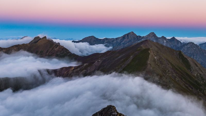 Mountain range, Sunrise, Mountain Peaks, Davos, Switzerland, White Clouds, Aerial view, Beautiful, 5K, Wallpaper