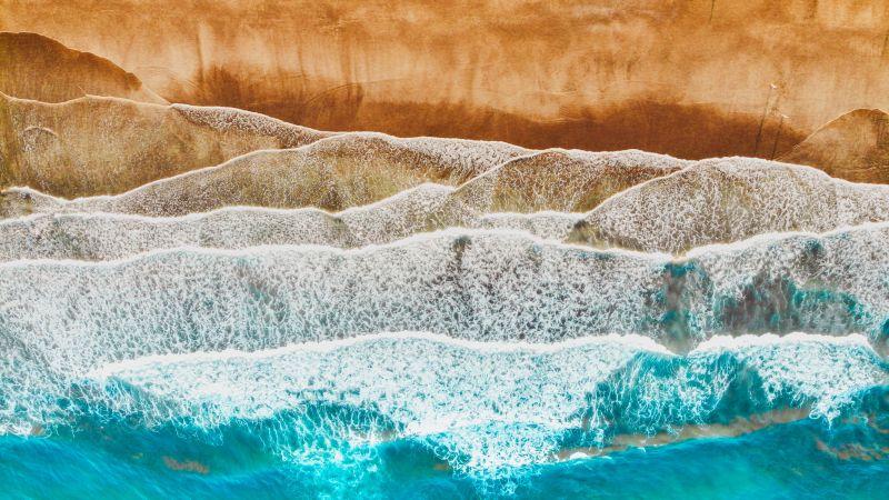Canary Islands, Spain, Aerial view, Ocean, Sea waves, Beach, Landscape, Drone photo, Wallpaper