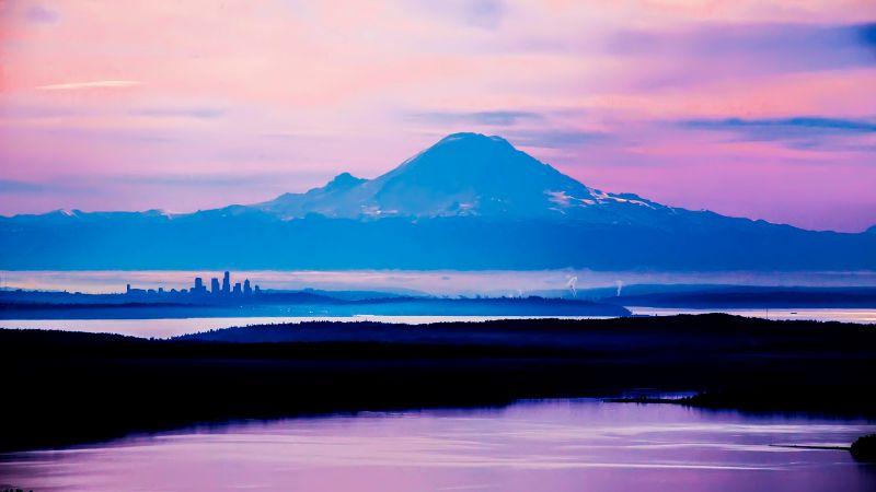 Mount Rainier, Washington State, Seattle, Mountain Peak, Purple sky, Fog, Landscape, Sunrise, Silhouette, Wallpaper