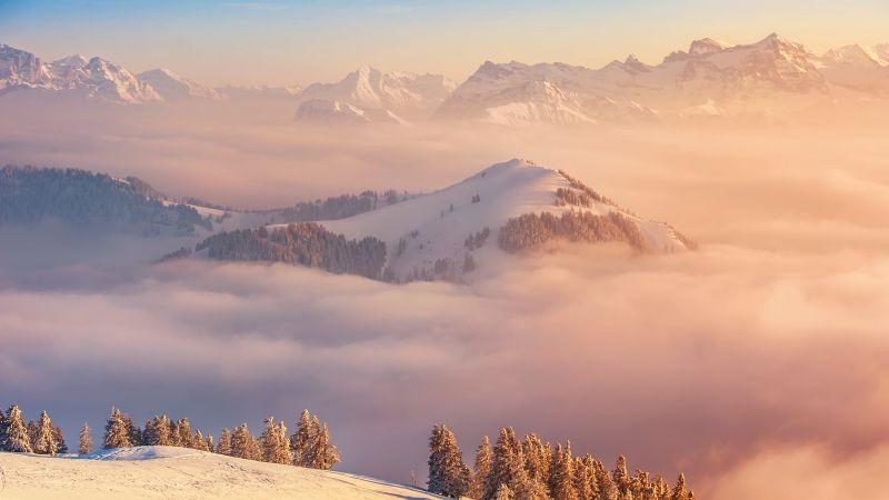 Rigi Kulm, Mount Rigi, Mountain range, Landscape, Snow covered, Winter, Switzerland, Foggy, Wallpaper