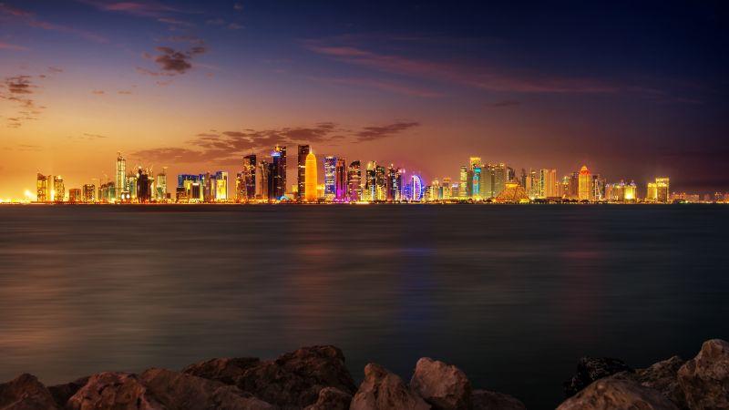 Doha City, Qatar, Skyline, Cityscape, Night time, City lights, Long exposure, Body of Water, Landscape, Skyscrapers, Beautiful, Wallpaper