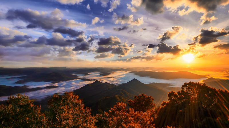 Mount Warning, Australia, Landscape, Cloudy Sky, Sunset, Mountain range, Foggy, Sunrays, Aerial view, Wallpaper