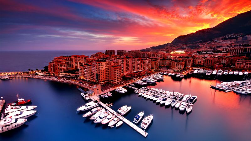 Port Fontvieille, Monaco City, Yacht, Red Sky, Boats, Body of Water, Long exposure, Reflection, Sunset, Wallpaper