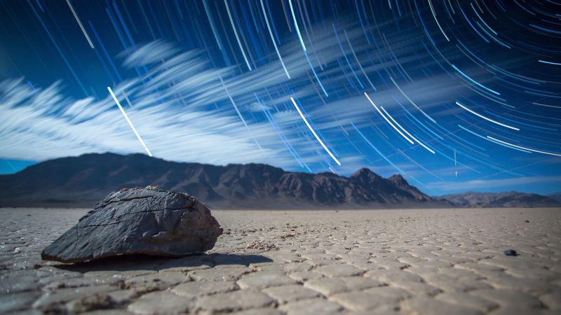 Racetrack Playa, Sliding Rocks, Sailing Stones, Death Valley, Landscape, Star Trails, Digital composition, Long exposure, Mountains, Desert, Pattern, Wallpaper