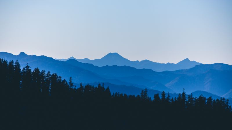 Red Buttes Wilderness, Mountain range, Silhouette, Forest, Landscape, Clear sky, Trees, Fog, Sunset, Tourist attraction, Wallpaper