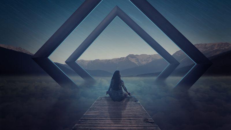 Alone, Meditation, Spiritual, Landscape, Evening, Surreal, Wallpaper