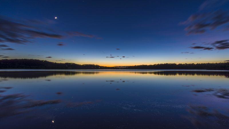 Narrabeen Lake, Sydney, Australia, Landscape, Long exposure, Reflection, Sunrise, Dawn, Body of Water, Clouds, 5K, Wallpaper