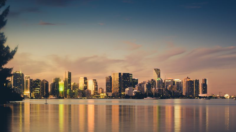 Miami Skyline, Sunset, Cityscape, Florida, City lights, Evening sky, Body of Water, Skyscrapers, Wallpaper