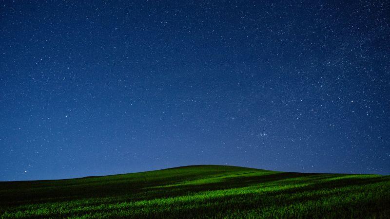 Palouse region, Washington State, Green Meadow, Night time, Starry sky, Landscape, Long exposure, Scenery, Grass field, Wallpaper
