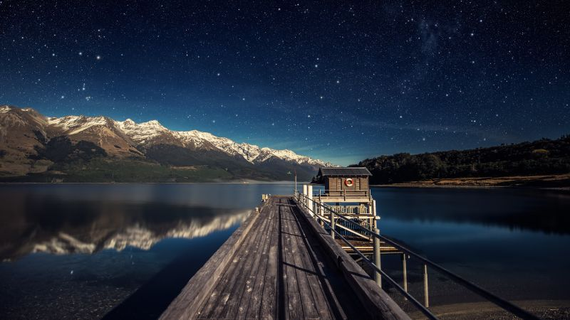 Lake Wakatipu, New Zealand, Mountain range, Snow covered, Reflection, Glacier mountains, Wooden House, Pier, Starry sky, Landscape, Scenery, Wallpaper