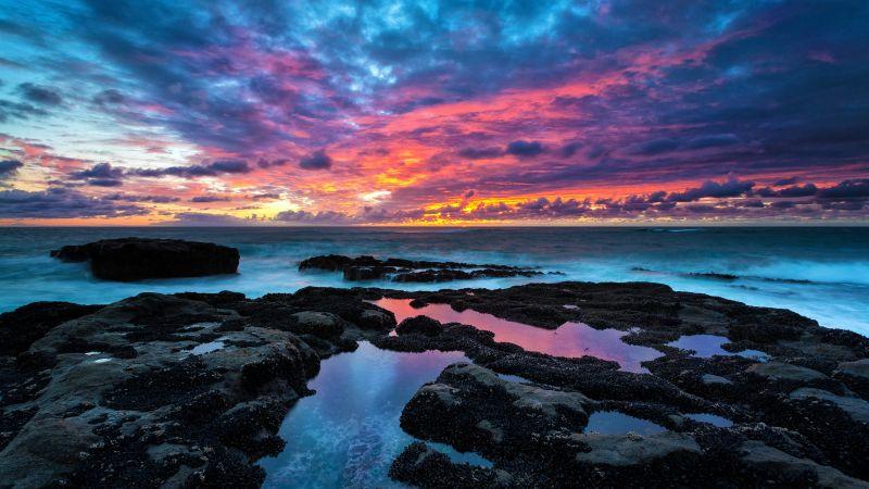 Rocky coast, Cape Arago, Sunset, Seascape, Long exposure, Sea waves, Cloudy Sky, Evening, Landscape, Scenery, Horizon, 5K, Wallpaper