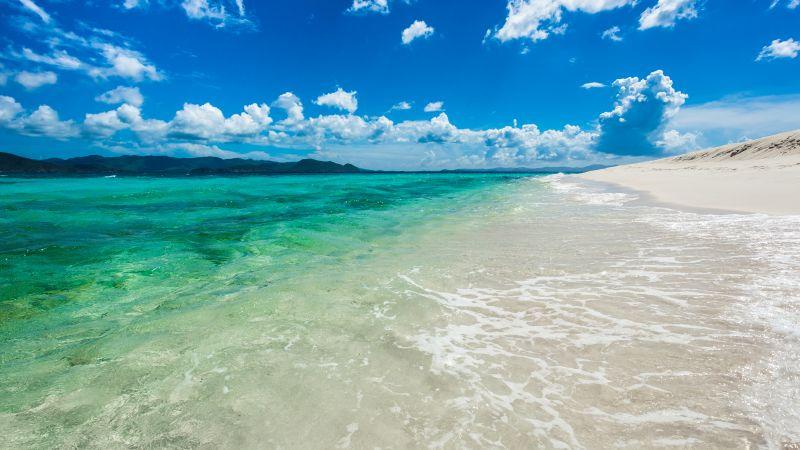 Sandy Cay Island, British Virgin Islands, Caribbean Sea, Seascape, Clouds, Blue Sky, Landscape, Tropical beach, Clear water, Horizon, 5K, Wallpaper