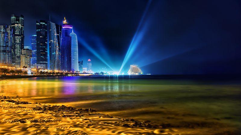 Doha Skyline, Qatar, Cityscape, City lights, Night time, Light beam, Skyscrapers, Body of Water, Beach, Long exposure, Wallpaper