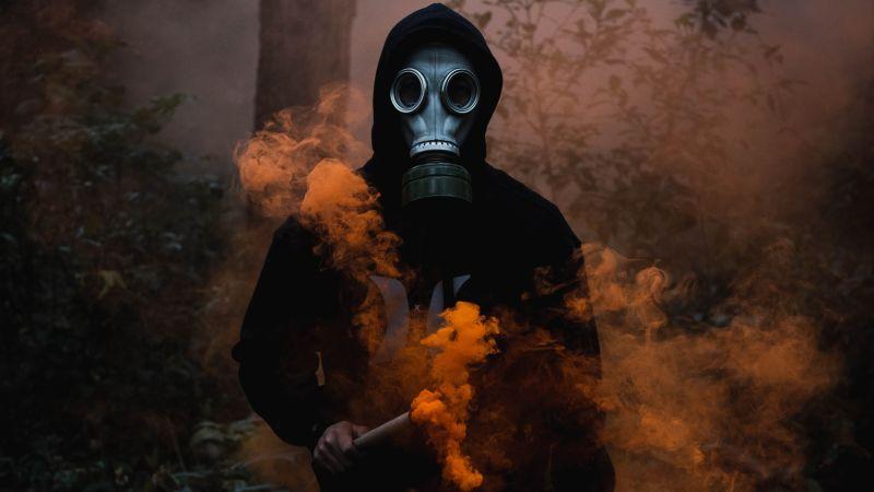 Man in Mask, Black Jacket, Smoke can, Dark background, Orange Smoke, 5K, Wallpaper