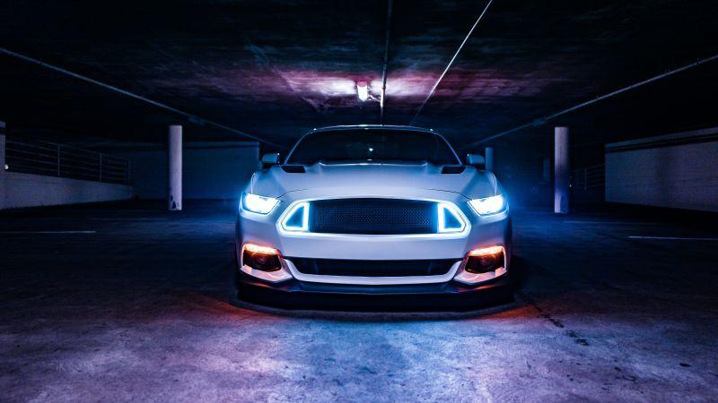 2016 Ford Mustang GT, White cars, Sports cars, Custom tuning, Basement, Headlights, 5K, Wallpaper