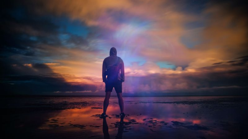 Standing Man, Beach, Body of Water, Planet Earth, Silhouette, Cloudy Sky, Outdoor, Dusk, Sunrise, Reflection, 5K, Wallpaper