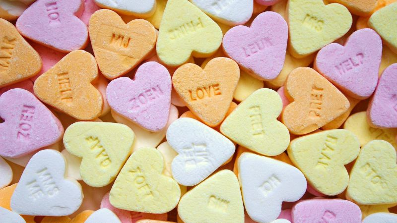 Heart Candies, Sweet candy, Confectionery, Delicious, Colorful, Shapes, Texture, Yellow, Pink, Wallpaper