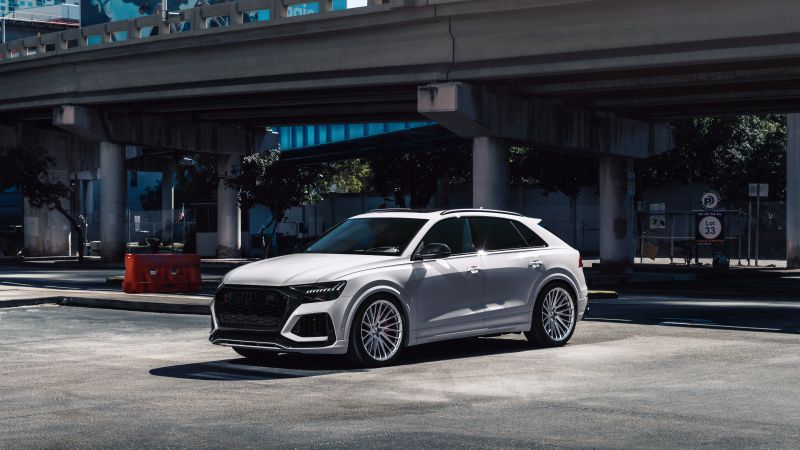 Audi RS Q8, White cars, Downtown, Miami, 5K, Wallpaper