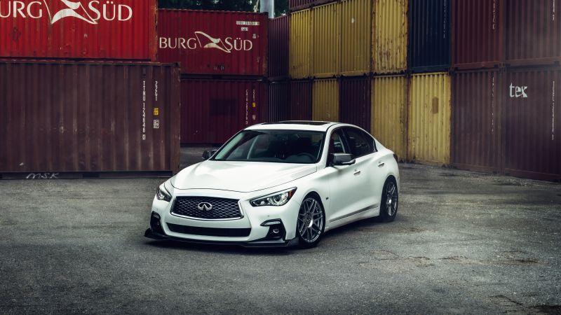 Infiniti Q50, Luxury cars, White cars, 5K, Wallpaper
