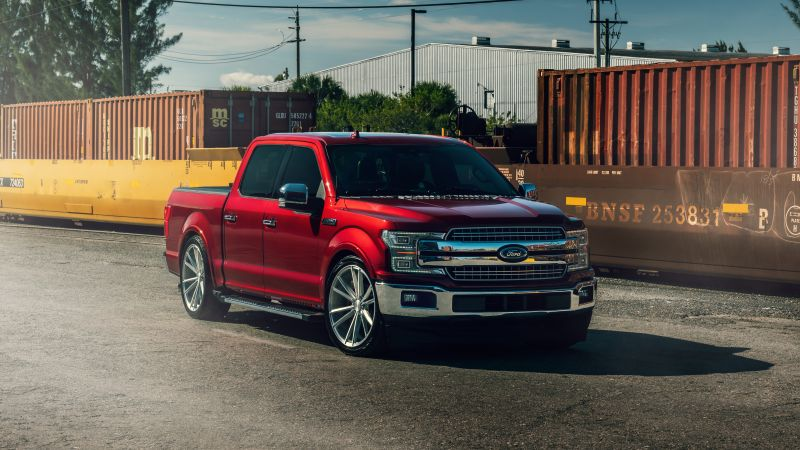 Ford F-150, Pickup truck, Ruby red, 5K, Wallpaper