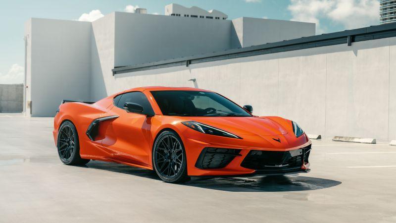 Chevrolet Corvette C8, Orange cars, 5K, Wallpaper