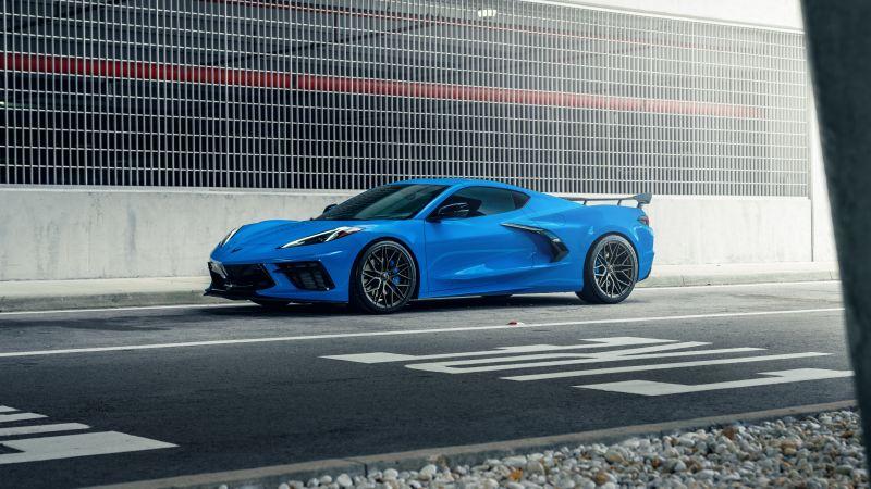 Chevrolet Corvette C8, Blue, Tarmac, 5K, Wallpaper