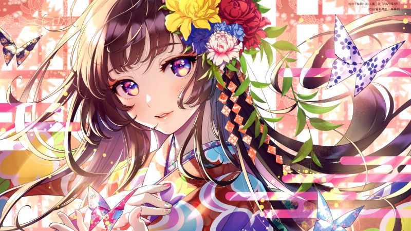 Anime girl, Floral, Colorful, Girly, Magical, 5K, Wallpaper