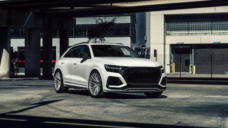 Audi RS Q8, White cars, Downtown, Miami, 5K, 8K, Wallpaper
