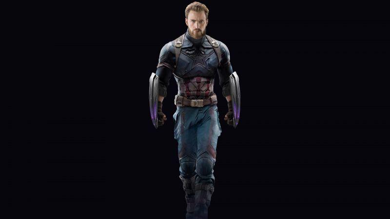 Captain America, Avengers: Infinity War, Black background, Wakandan Shields, Marvel Superheroes, Wallpaper