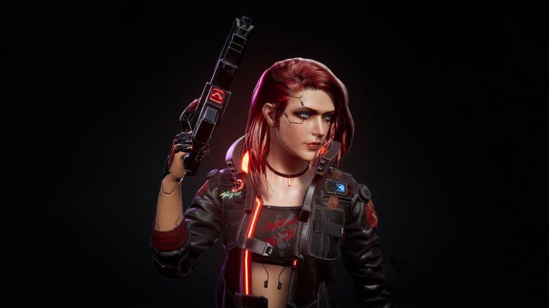 Female V, Cyberpunk 2077, Dark background, Artwork, Wallpaper