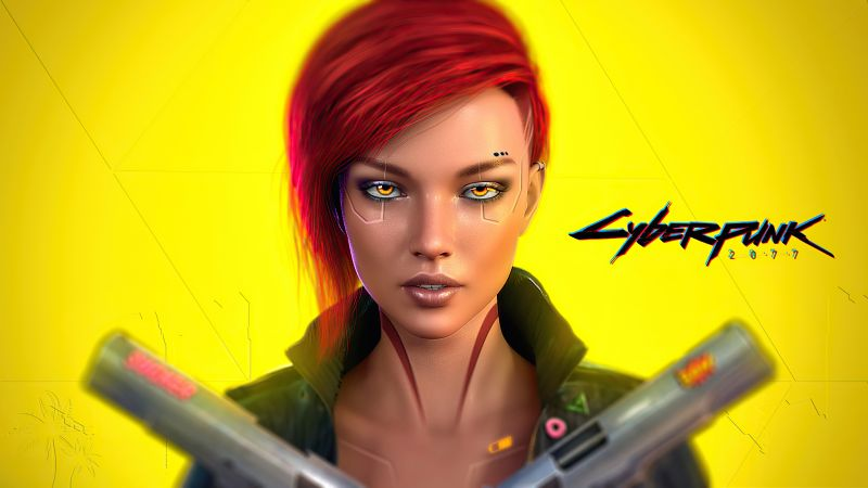 Female V, Cyberpunk 2077, Cover Art, Yellow background, PlayStation 4, Google Stadia, Xbox One, PlayStation 5, Xbox Series X and Series S, PC Games, Wallpaper