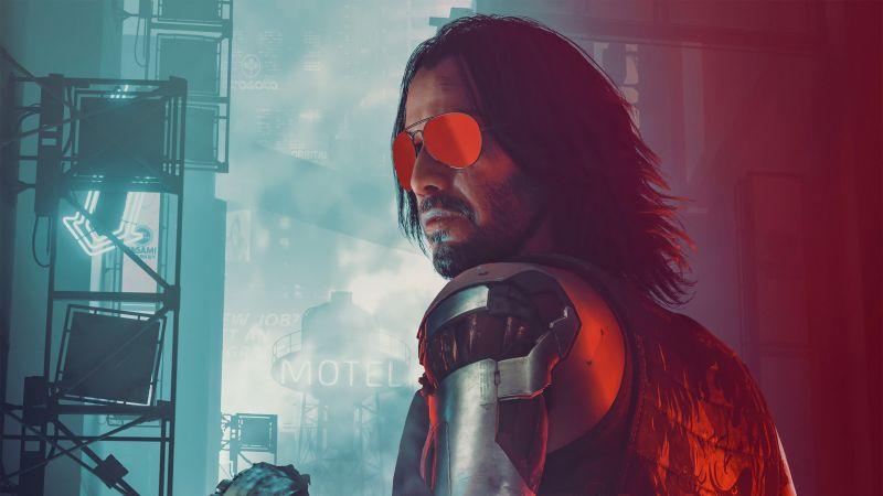Johnny Silverhand, Cyberpunk 2077, Keanu Reeves, Game Art, Fan Art, Porsche 911 Turbo, 2021 Games, Wallpaper