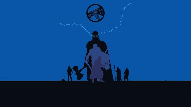 Thor, God of Thunder, Stormbreaker, Minimal art, Marvel Superheroes, Wallpaper