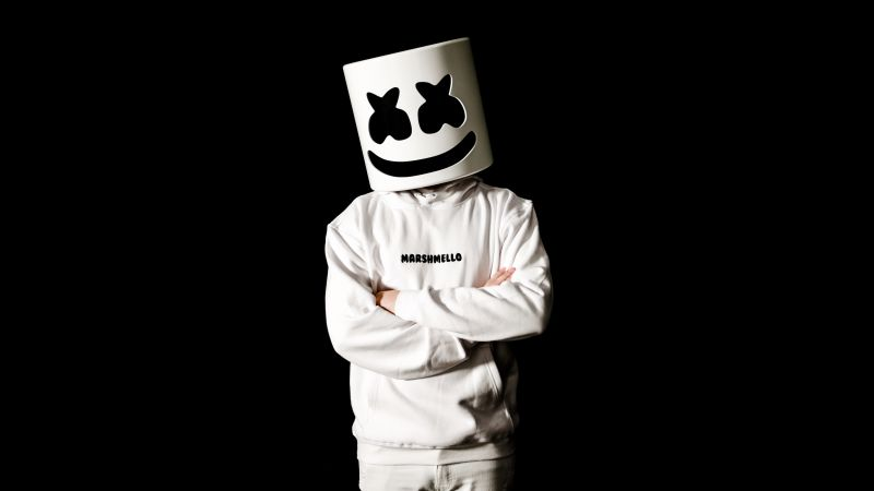 Marshmello, Monochrome, American DJ, Black background, 5K, 8K, Wallpaper
