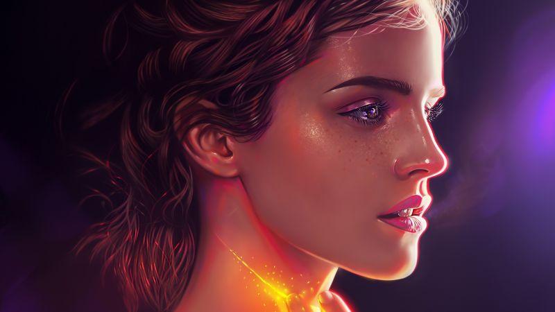 Emma Watson, American actress, Portrait, Beautiful actress, Magical, Vivid, Paint, Illustration, Wallpaper