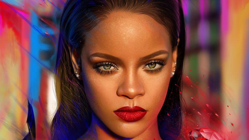 Rihanna, Barbadian singer, Portrait, Paint, Colorful, Vivid, Magical, Illustration, Wallpaper