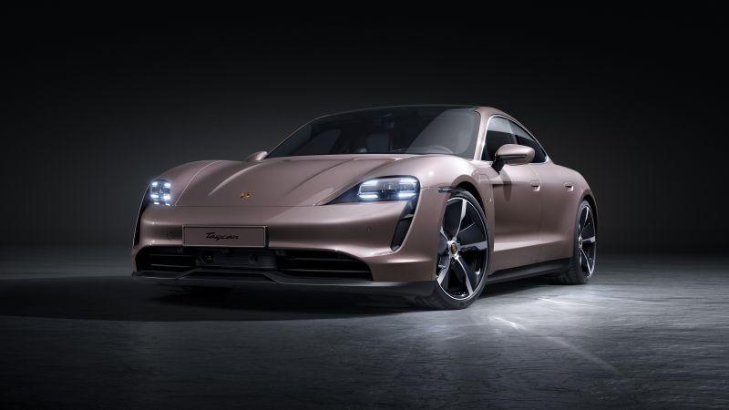 Porsche Taycan, Dark background, 2021, 5K, Wallpaper