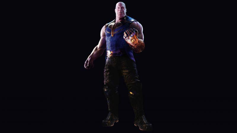 Thanos, Avengers: Infinity War, Infinity Gauntlet, Black background, 5K, Wallpaper
