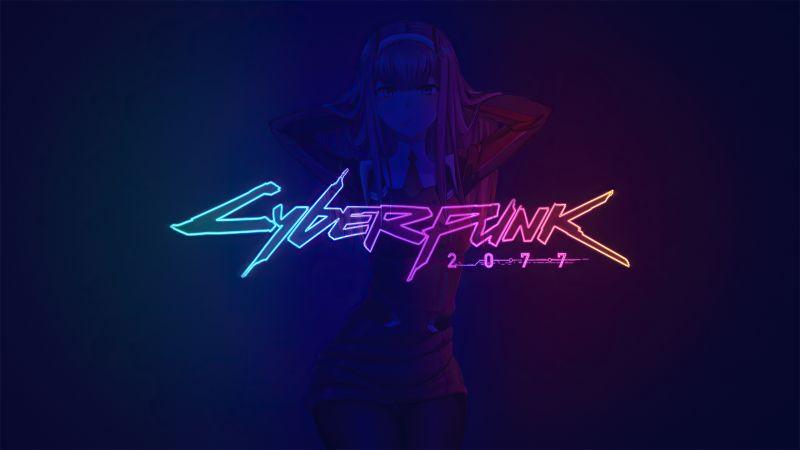 Cyberpunk 2077, Zero Two, DARLING in the FRANXX, Neon, Wallpaper