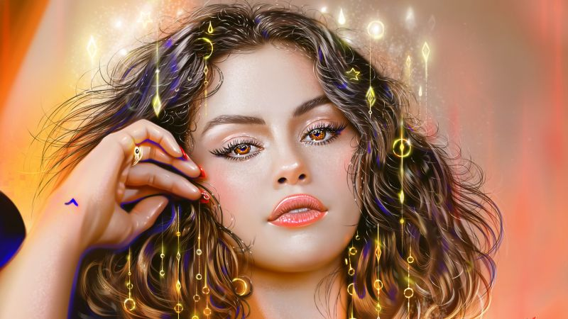 Selena Gomez, Paint, Illustration, American singer, Colorful, Vivid, Portrait, Magical, Artwork, Wallpaper